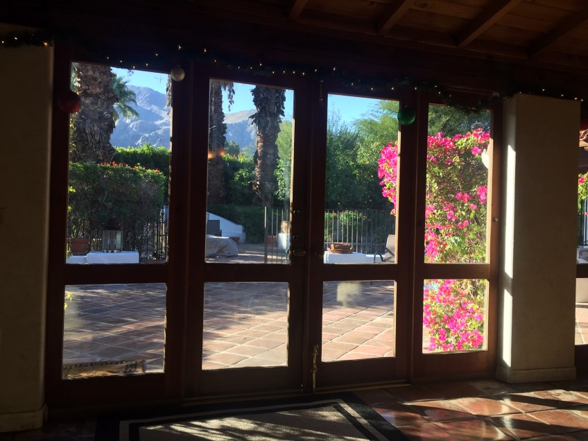 view of back yard through french doors