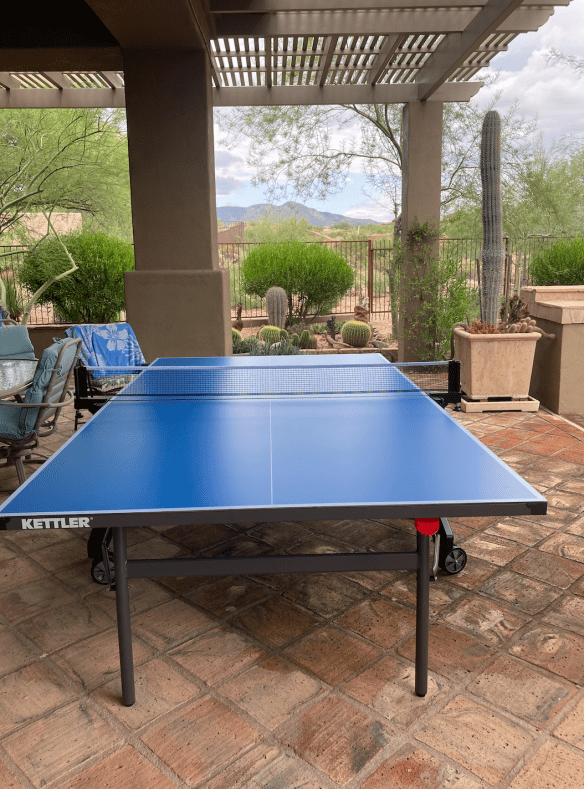 Kettler Cabo ping pong table on the patio