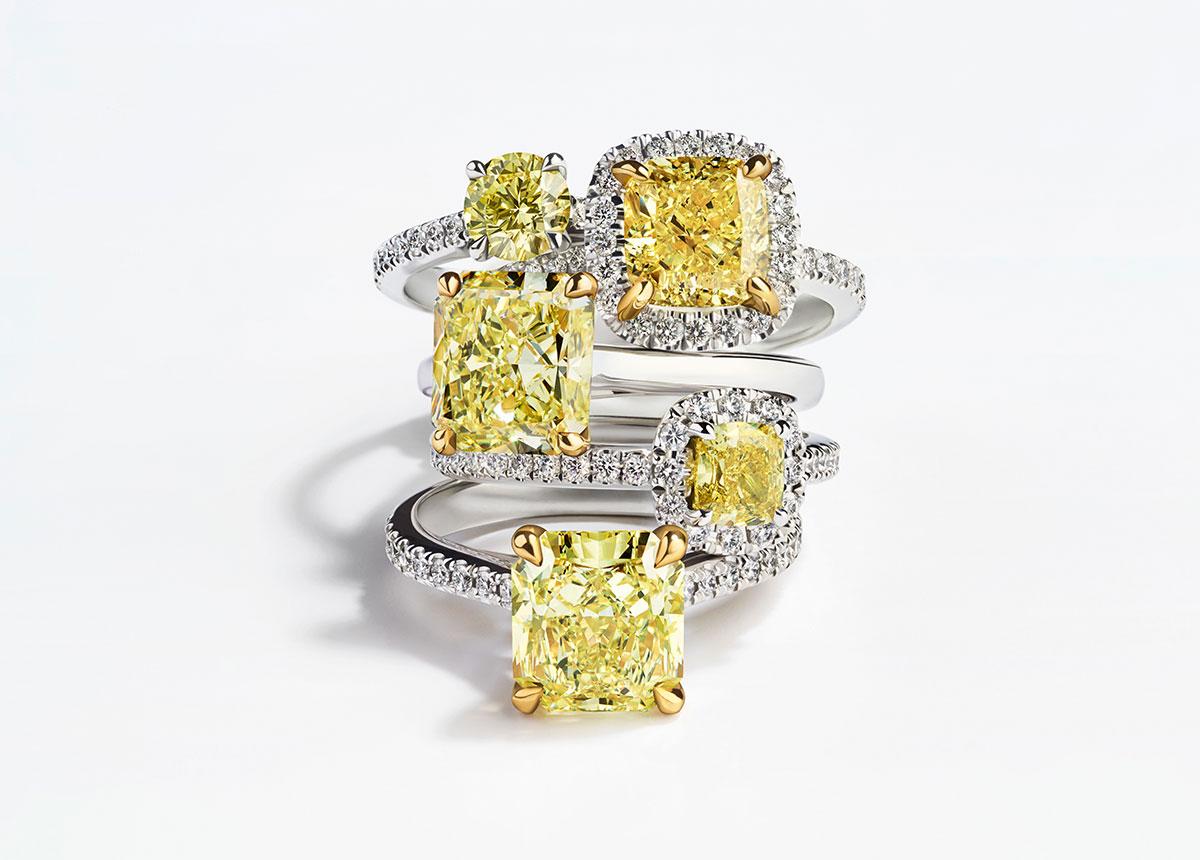"""Bucherer setzt mit gelben Diamanten gezielt auf die Pantone Trendfarbe """"Illuminating Yellow""""."""