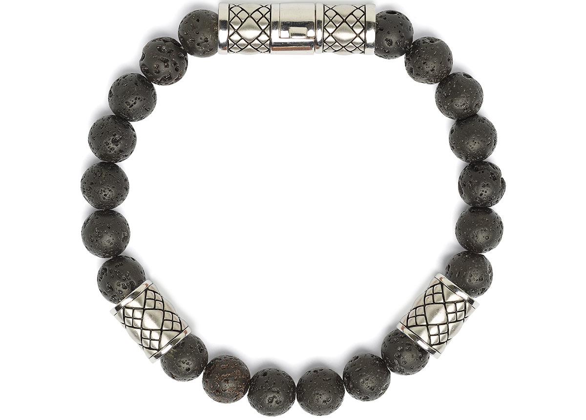 Besonders cool: Die Artus Armkette aus tiefschwarzem Lava Stein.