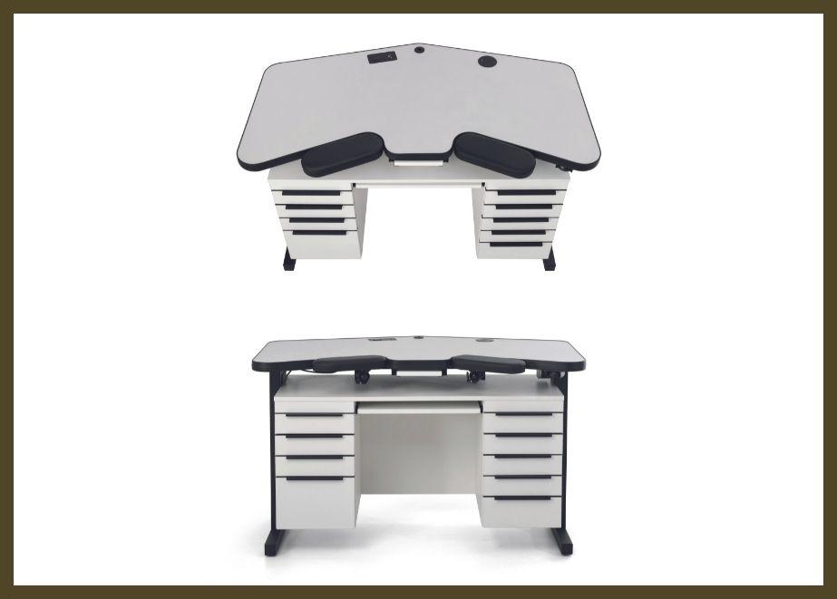 Der Tisch ist elektrisch stufenlos in der Höhe von 88 bis 134 Zentimeter verstellbar und passt so ideal zu jedes Juweliers persönlicher Körpergröße.