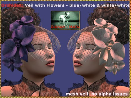 Bliensen - Orchidea - veil - bluewhite & whitewhite