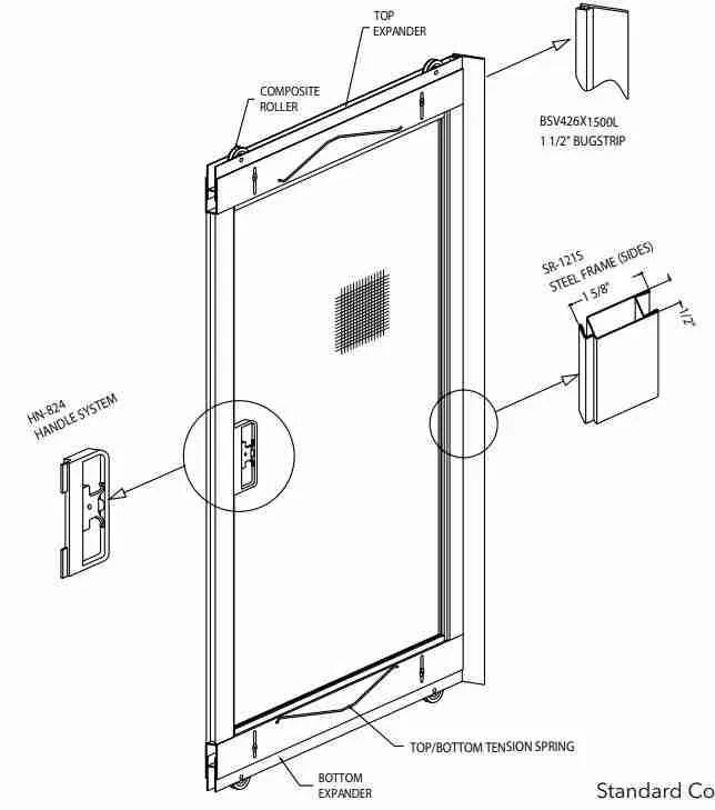 adjustable sliding screen door white 36 x 78 80