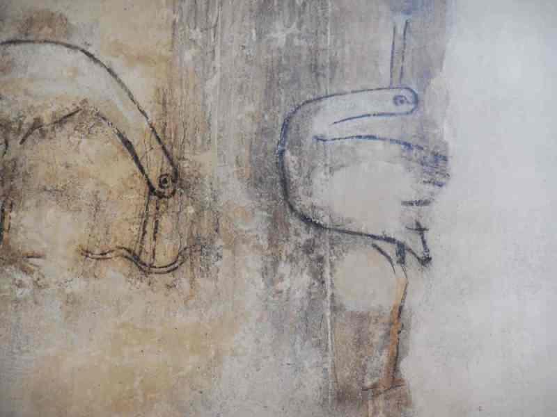 Oude fresco van twee vogels in de Bergkerk, Deventer.