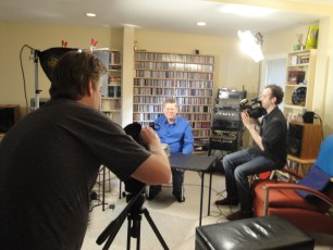 "April 1, 2012 - Ben Churchill and Francis Sheehan filming Tommy Edison for the ""How Blind People Write Braille"" video"