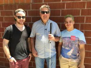 "July 16, 2016 - James Rath, Tommy Edison, and Elijah Pysyk at the shoot for ""How Pokemon Go Affects Blind People"""
