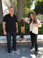 June 26, 2017 - Tommy Edison and Sara Dietschy with a Boosted Board (electric skateboard)