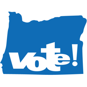 "A royal blue outline of the state of Oregon with the word ""Vote!"" written in large block letters within it."