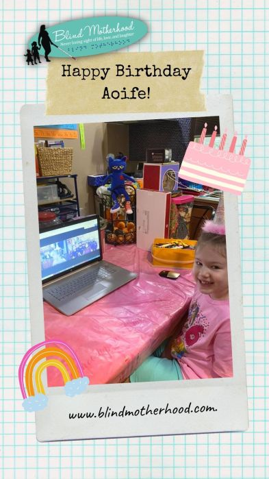 Aoife sitting at the kitchen table with an open latop. The screen shows her classmates singing Happy Birthday on Google Classroom.