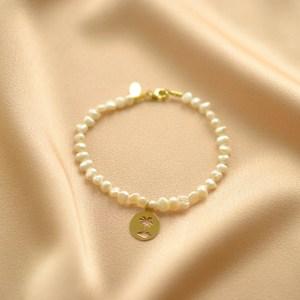 pulsera de perlas y palmera -blingbling