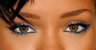 Rihana Blue Eyeliner Closeup