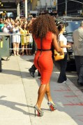 Gold medal winner and tennis champion Serena Williams steps out in a tight red dress after her appearance on the David Letterman TV show in New York City on August 22nd, 2012. (August 22, 2012 - Source: FameFlynet Pictures)