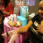 Marna getting a treatment from Whish at Nordstrom Beauty Blush Hour May 30