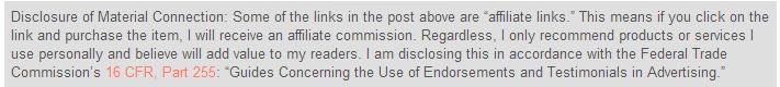 affiliate link disclosure
