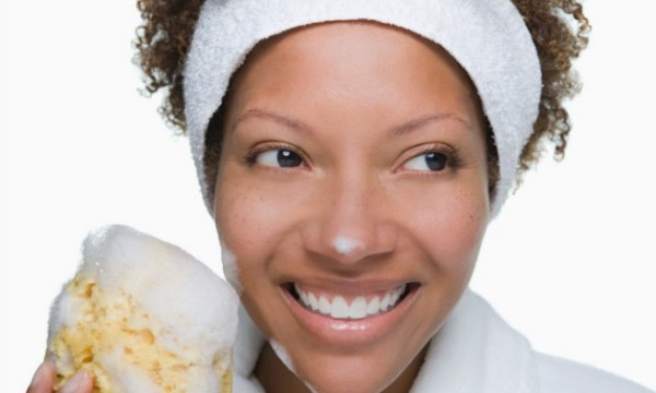 black woman facial mask