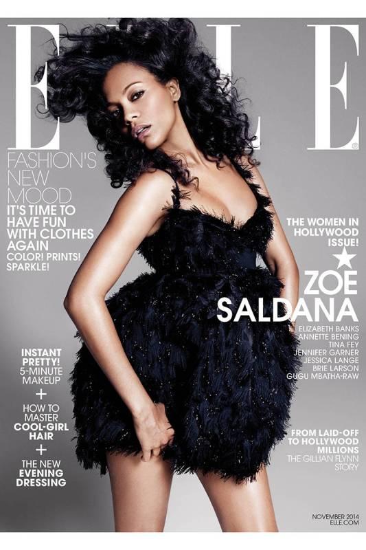 zoe saldana ell women in hollywood issue cover november 2014
