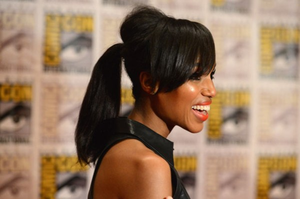 """SAN DIEGO, CA - JULY 14: Actress Kerry Washington speaks at """"DJango Unchained"""" Press Line during Comic-Con International 2012 at Hilton San Diego Bayfront Hotel on July 14, 2012 in San Diego, California. (Photo by Frazer Harrison/Getty Images)"""