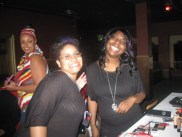 Makeup artists Kessiah Hooper and Diana Jones holding it down backstage at Kiss the Curves