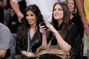Kim & Khloe Kardashion 1/3/10 Staples Center Getty Images