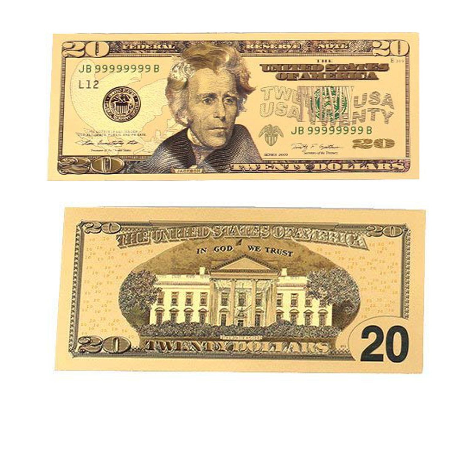 New 20 Dollar Bill 24k Gold Art Collectibles Plated Fake