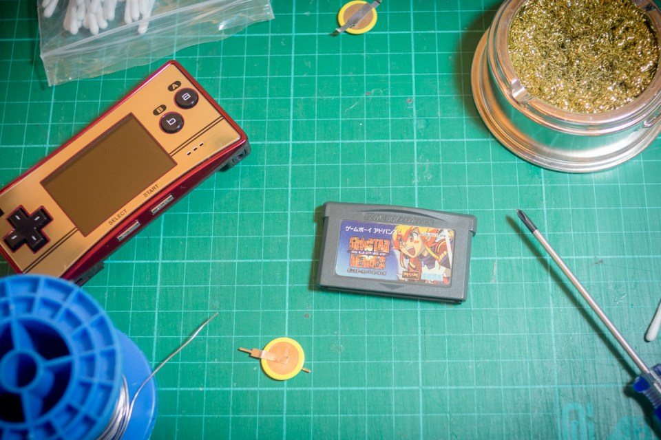 Replacing the battery on a GBA cart