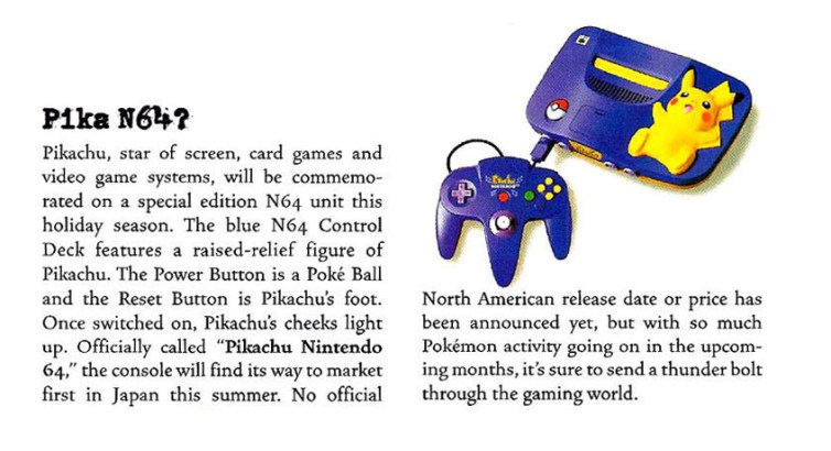 A snippet of information about the Pikachu N64 in the August 200 issue of Nintendo Power