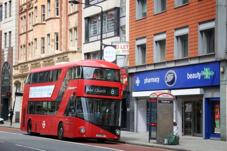 LONDON, UK - JULY 9, 2016: New Routemaster bus in Holborn, London. The hybrid diesel-electric bus is a new, modern version of iconic double decker.