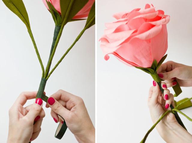 ติดใบเข้ากับก้านดอกกุหลาบ