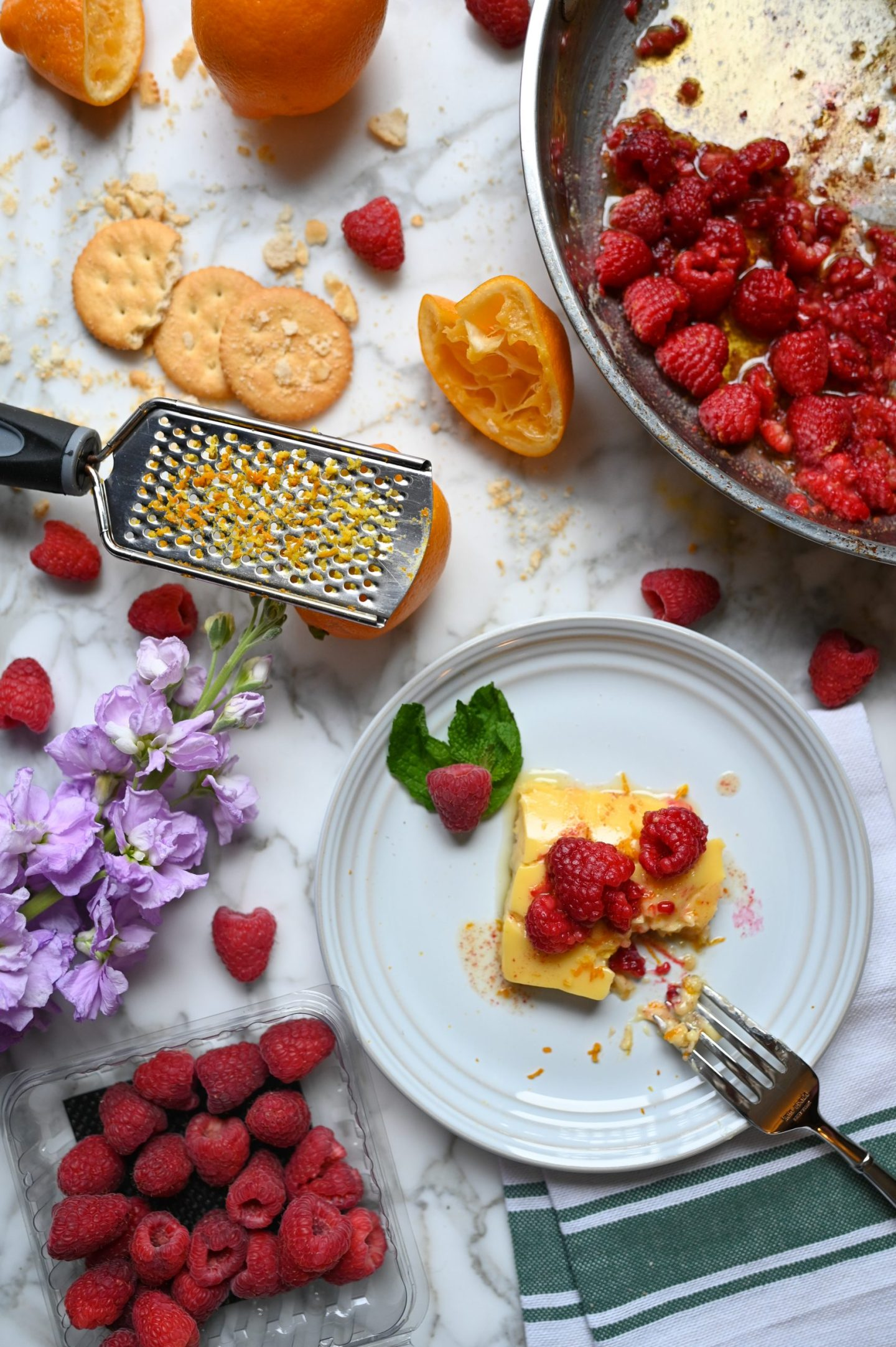 Lemon Bars With Brown Butter Raspberries