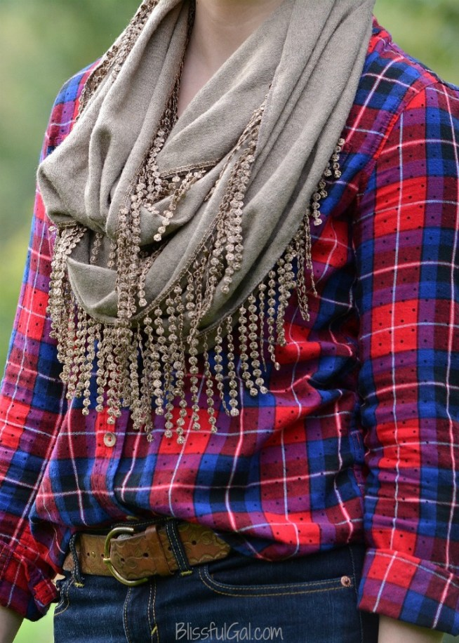 How to Wear a Scarf with Plaid - pair a plaid or flannel shirt with a solid scarf this fall 2015