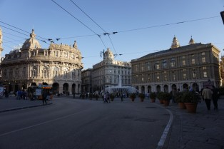 The main square of Genoa, Piazza de Ferrari.