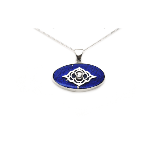 Sterling Silver Moroccan and Lapis Pendant
