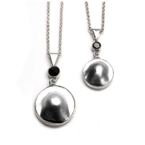 Tahitian Mabe Pearl Pendant with Black Spinel accent