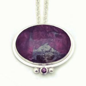 Artisan Necklace | Eudialyte Pendant With Pink Spinel Accent Set In Argentium Silver