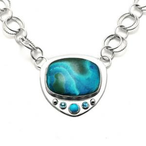 Artisan Necklace   Chrysocolla Azurite Malachite Ocean Pendant