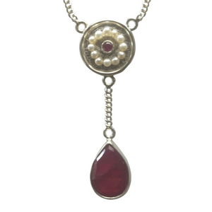 Artisan Necklace | Pink Sapphire Seed Pearl Pendant