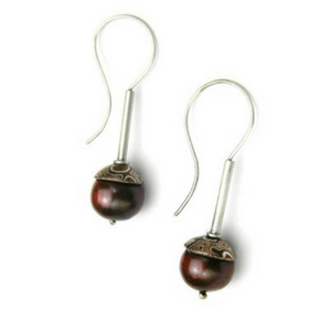 Acorn style Mokume Gane Orb Earrings with 11mm Chocolate Freshwater Pearl