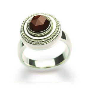 Artisan Ring   Granulated Garnet Dinner Ring