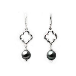 Artisan Earrings | Quatrefoil Grey Freshwater Pearl Earrings