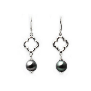Artisan Earrings | Quatrefoil Grey Freshwater Pearl Earrings