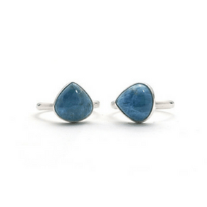 Artisan Ring | Teardrop Aquamarine Argentium Silver Ring
