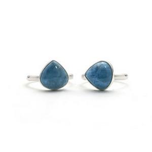Artisan Ring   Teardrop Aquamarine Argentium Silver Ring
