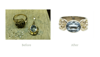My customer loved the stone but had never even worn the pendant, it had sat in her jewellery box for years. Combining the diamonds from an old ring and the aquamarine from the pendant we were able to create a beautiful granulated ring highlighted by her amazing aquamarine and side diamonds.