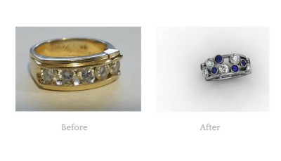 Wanting a completely new look we recycled the diamonds from her old band and found them new purpose accompanied with some new sapphires to create a striking new ring.