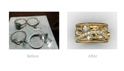 My customer had a lot of gold that was not being used. With her 20th wedding anniversary approaching she was determined to have 20 stones incorporated into this ring. We were able to accomodate that using all of her own gold and existing stones.