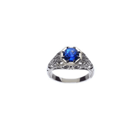 Custom Blue Sapphire Alternative Engagement Ring in White Gold with Engraving