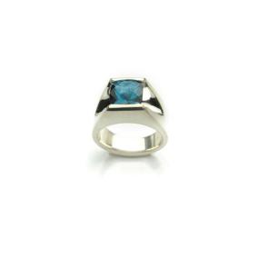 Custom Men's ring with Large cushion cut Blue Topaz