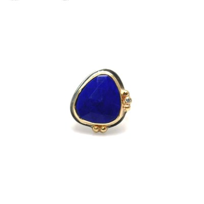Two tone silver and 14ky faceted lapis ring with 2mm diamond accent