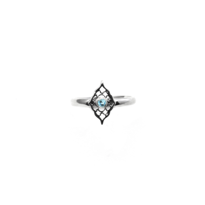 Petite Sterling Silver Moroccan Ring with Blue Topaz