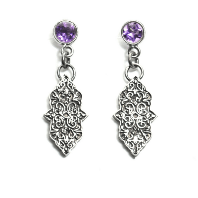 Mandala Amethyst Earrings with Patina